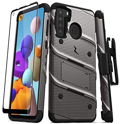 ZIZO Bolt Series for Samsung Galaxy A21 Case with Screen Protector Kickstand Holster Lanyard - Gun Metal Gray & Black