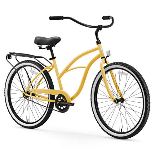 sixthreezero Around The Block Women's Single-Speed Beach Cruiser Bicycle, 26' Wheels, Cream with Black Seat and Grips
