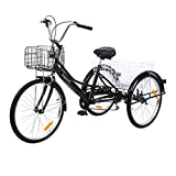 MuGuang Adult Tricycles 24 Inches 7 Speed 3 Wheel Adult Trike Bike Cycling with Shopping Basket (Black)