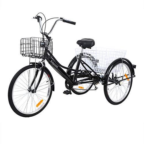 MuGuang Dreirad Für Erwachsene 24 Zoll 7 Geschwindigkeit 3 Rad Fahrrad Dreirad Pedal mit Warenkorb Tricycle (Schwarz)