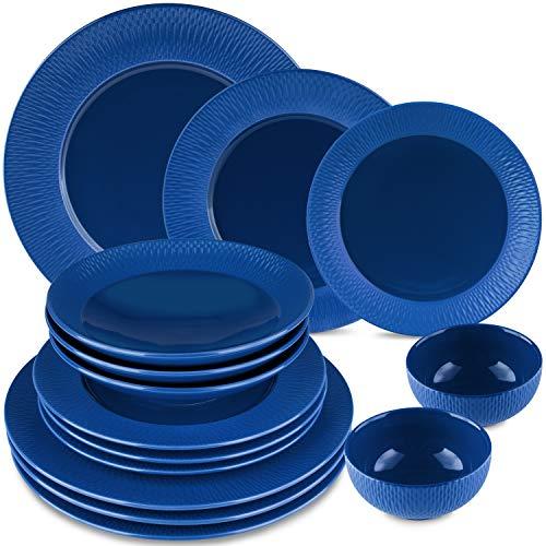 Melox Geschirrset Porzellan 14-teilig | schwarz, blau, rot | aufwändiges London-Muster | passend für jeden Anlasse | kratzfest, geschirrspülgeeignet (blau)