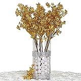 BalsaCircle 32 Gold Silk Baby Breath Artificial Flowers - 12 Bushes - Wedding Party Centerpieces Arrangements Bouquets Supplies