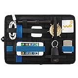 LZVTO PC周辺小物用 バッグインバッグ ガジェット&デジモノアクセサリ固定ツール 登山リュック用 カバン 整理 収納ケース トラベル用 インナーバッグ スマホアクセサリー、ケーブル、マウス、モバイルバッテリー、USB充電器などの小物収納 ノートPC・タブレットケース A5サイズ (黒+青, 21cm*16cm)