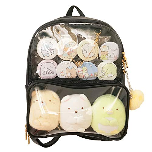 Patty Both Clear Backpack Transparent Ita Bag for Anime Lolita Bag DIY Cosplay(Ita Bag, Black)