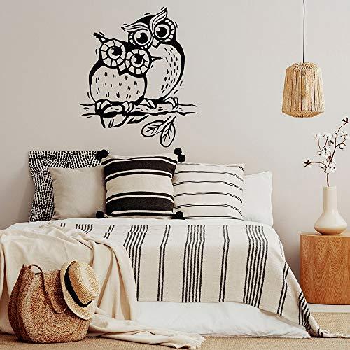 ASFGA Owl Love Wall Decal Bird mom and me Kindergarten decoración Vinilo Pegatina para niños habitación niños Dormitorio decoración Papel Tapiz 68X57CM