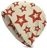 Owl On The Night Red Stars Gorro Exclusivo para Hombres y Mujeres - Gorro de Punto de Calavera Liso Unisex cálido de Invierno con puños