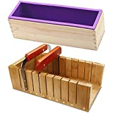 Soap Loaf Making Cutting Molds Kit with Silicone Mold + Wood Box + Wooden Cutter Mold + Straight...