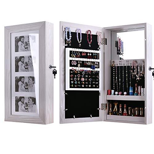 HFJ&YIE&H Bilderrahmen Schmuck Schrank An der Wand montiert Kabinett,4 Bild Vitrine,PVC-Holz Feuchtigkeitsbeständig Spiegelschrank Schmuck Veranstalter Box-Make-up Kosmetik-Veranstalter