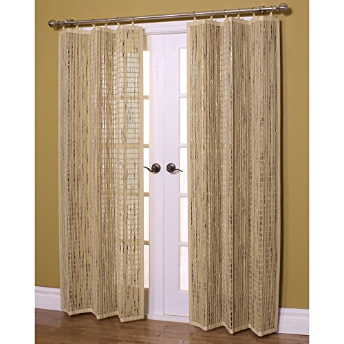 Bamboo Ring Top Curtain Bamboo Window Panel, 40 by 84-Inch L x H, Driftwood