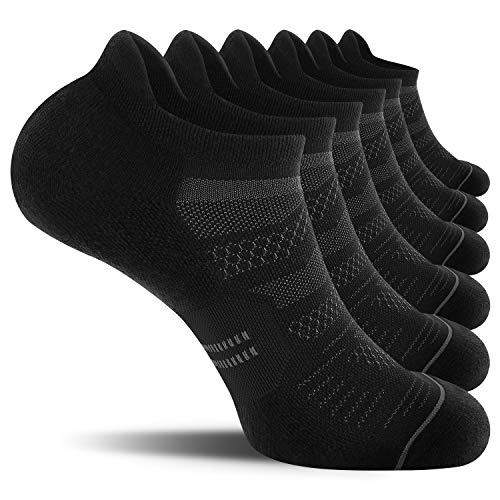 CelerSport 6 Pack Men's Running Ankle Socks with Cushion, Low Cut Athletic Sport Tab Socks, Black, Shoe Size: 9-12
