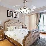 MAMINGBO Ventilador de techo interior LED de tifón de 42 pulgadas Ventilador de techo retráctil de estilo Tiffany con luz, facheLier moderna de FUTCHOCE LED de lámpara de techo para dormitorio, 3 luz