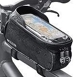 Yolansin Bolsa para cuadro de bicicleta resistente al agua, soporte para teléfono móvil con orificio para auriculares, bolsillo para tubo superior, bolsillo para teléfono móvil, navegador GPS