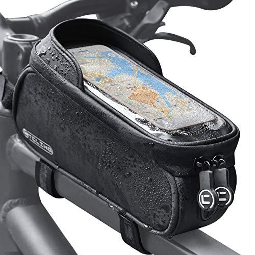 Yolansin Fahrrad Rahmentaschen Wasserdicht, Fahrradtasche Rahmen Handyhalterung mit Kopfhörerloch, Fahrrad Tasche mit Touchscreen Oberrohrtasche, Handytasche Navigationstasche für GPS, Navi