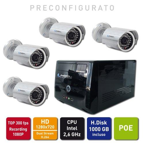 Jenimex Kit Videosorveglianza Entry Level IP HD : NVR + 4 Telecamere IP HD 1280x720 Entry Level e POE (non c'e' bisogno di alimentatori) preconfigurazione e supporto tecnico del produttore per 12 mesi