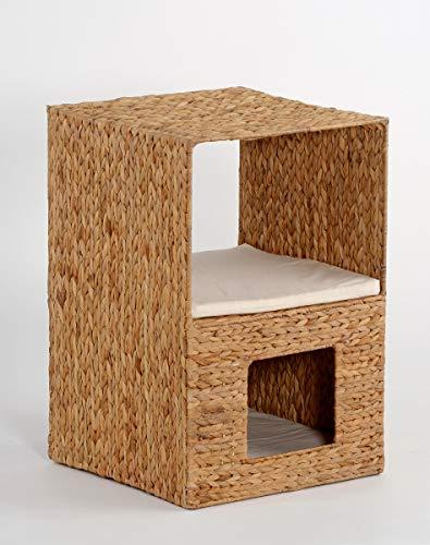 animal-design rek Sonja met geïntegreerde dierenholle bijzettafel woonkamer kattenverstop waterhyacint