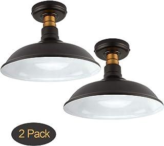 مجموعه ای از 2 پرنعمت نور سقف کوهستانی پرنعمت ، مایع برنز مایع با روغن / برنجی عتیقه ، لامپ لامپ سقف صنعتی مناسب برای اتاق نشیمن اتاق خواب راهرو ، پایه متوسط E26