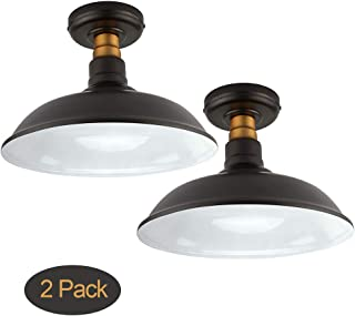Set of 2 Vintage Semi Flush Mount Ceiling Light, Oil Rubbed Bronze/Antique Brass Finish,Industrial Ceiling Lamp Fixture Suitable for Bedroom Living Room Hallway,E26 Medium Base