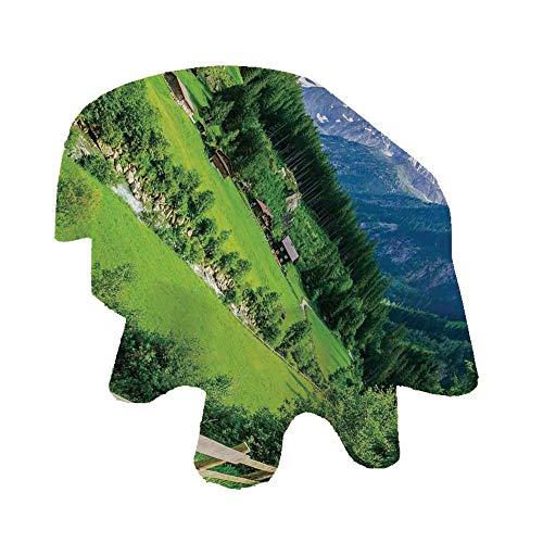 Farmhouse Decor Nappe ovale en polyester Motif paysage alpin avec chalets de prairie et ruisseaux de pin 152,4 x 213,4 cm Vert Blanc