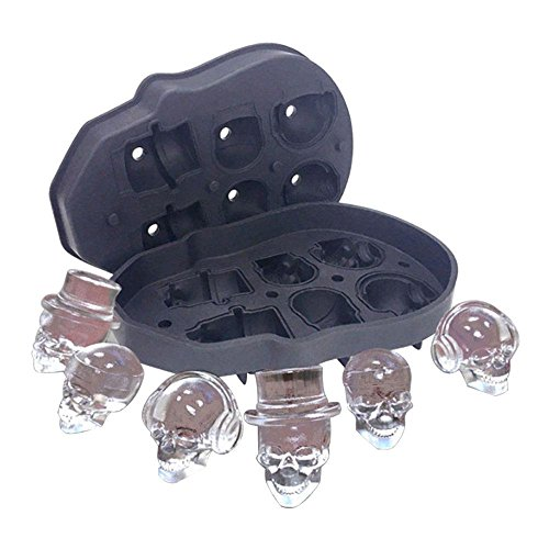 Pawaca 3D Skull Ice Cube Tray Mould, Makes Six Vivid Skulls, Food Grade Flexible Silicone Ice Cube Maker in Shapes for Whiskey Ice and Cocktails (Funnel Not Include)