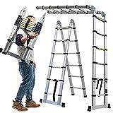 Telescopic Ladder Aluminum Extension Portable Collapsible 12.5Ft 3.8M(1.9M+1.9M) A Frame Ladder 12 Tread, DIY Folding Climb Step Ladder Multi-Purpose Compact Home Stair Work Ladder EN131
