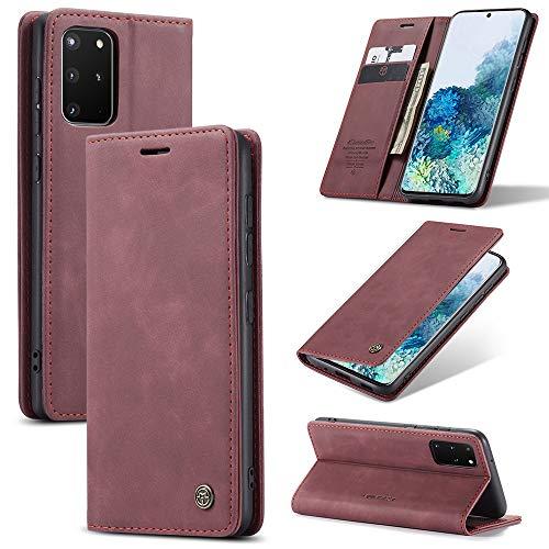 KONEE Funda Compatible con Samsung Galaxy S20 Plus 6.7', [Ranuras para Tarjetas] [Soporte Plegable] Magnético Carcasa Premium PU Cuero Flip Folio Carcasa para Samsung Galaxy S20 Plus 6.7' - Vino Tinto