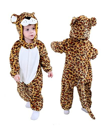 Disfraz de dinosaurio de tigre para niños pequeños, con capucha, mono (leopardo, 12 – 18 meses/altura: 73,6 – 78,7 cm)