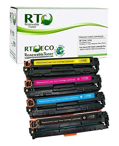 Renewable Toner Compatible Toner Cartridge Replacement for HP 131A 131X M251 M276 (Cyan, Magenta, Yellow, Black, 4-Pack)