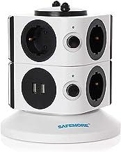 SAFEMORE Meervoudige stekkerdoos, schakelbaar, 7-voudige stekkerdoos, verdelercontactdozen met 2 USB (5 V/2,1 A) heeft 210...