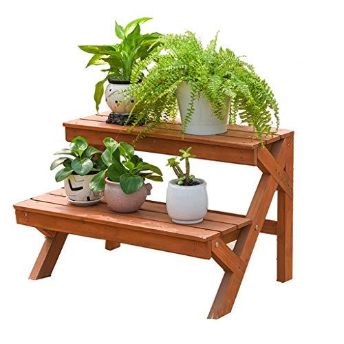 Cadre floral/Support pour plantes d'extérieur / 2 échelle en bois en bois Stand Stand jardin Patio plante debout fleur pot Rack décoratif présentoir support fleur Pot étagère - intérieur/extérieur
