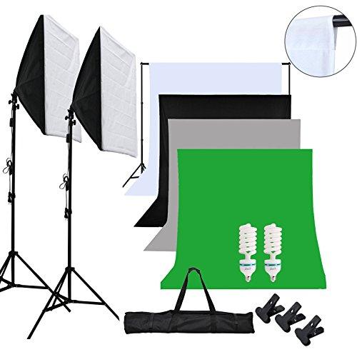 OUBO Estudio fotográfico Kit Estudio de la iluminación Contínua 2 Softboxes + 1.8X 2.7m Fondo con Tela de algodón Blanco, Verde, Negro y Negro + 2x2m Soporte del Fondo + trípode de luz