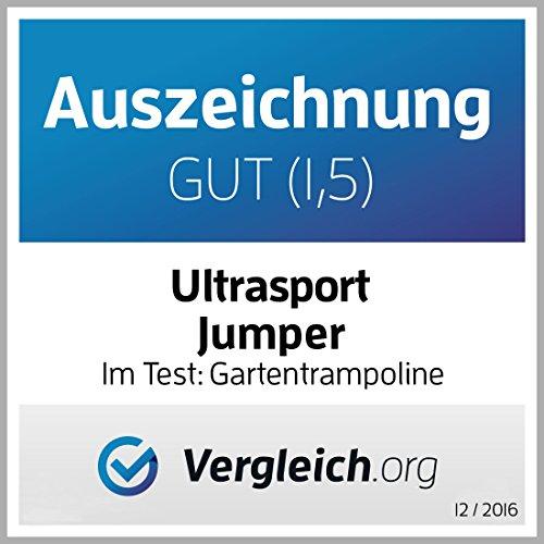 Ultrasport Trampolino da giardino Jumper, set trampolino per Il Salto inclusi tappeto elastico, rete di sicurezza, pali della rete imbottiti e rivestimento dei bordi, fina a 120kg, Blu, Ø 251 cm