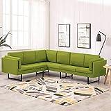 UnfadeMemory Conjunto de Sofás Esquinero de Salon de Tela con Cojines,Muebles de Hogar Oficina,Patas de Acero,255x199,5x62,5cm (Verde)