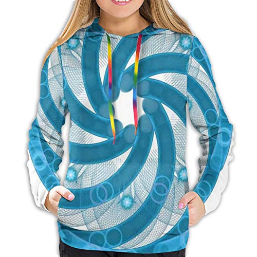 MLNHY Women's Hoodies Tops,Computer Rendered Abstract Fractal Design Rotary Turning Futuristic Tube Whirl Design,Hoodie Sweatshirt Apparel for Women,Lady, Teens and Girls,Size:XXL