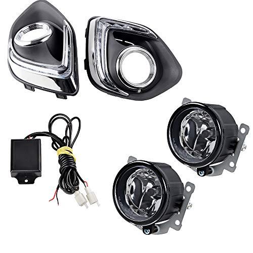 Compatible with Mitsubishi ASX Outlander Sport 2013-2015 Set 9-LED DRL Running Lights Daytime Daylight 12V warning lamp car & H11 Fog Light Bulb Glass Lens