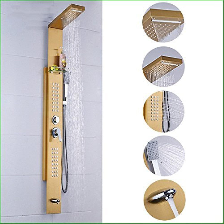 HSDDA Badezimmer-Niederschlag - Goldene Zeichnung des Stahls modernes Badezimmer Dusche Dusche Dusche Anzug Handbad Baden Duschkopf