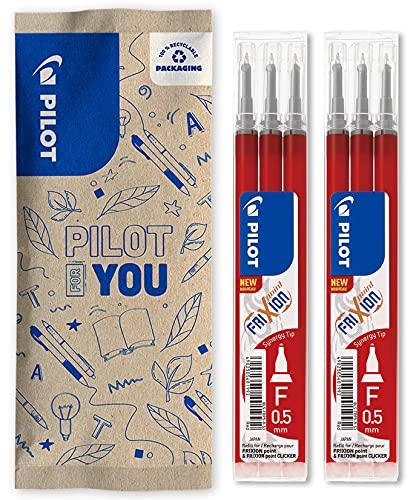 Pilot - Juego de 2 fundas de 3 recambios FriXion para bolígrafo borrable, compatibles con FriXion Point y FriXion Point Clicker, color rojo