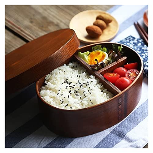 Caja De Almuerzo Para Almacenar Comida Adecuado para estudiantes Estudiantes Caja de almuerzo de madera Bento Lunchbox Alimentación...