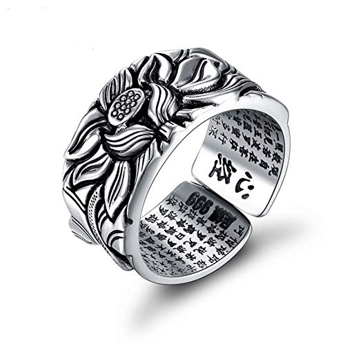 Silver Rings Good Luck Buddha Adjustable Size Trendy Popular S999 Solid Thai Silver Ring for Women Men