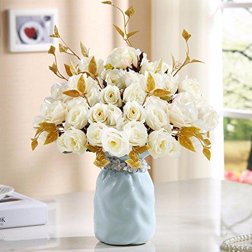 LSRHT Flores Artificiales Vasijas de cerámica Moderno Rosa Blanco Romántico Bouquet Ideal para Decoracion de casa habitacion Jardin Fiesta de Boda Mostrando