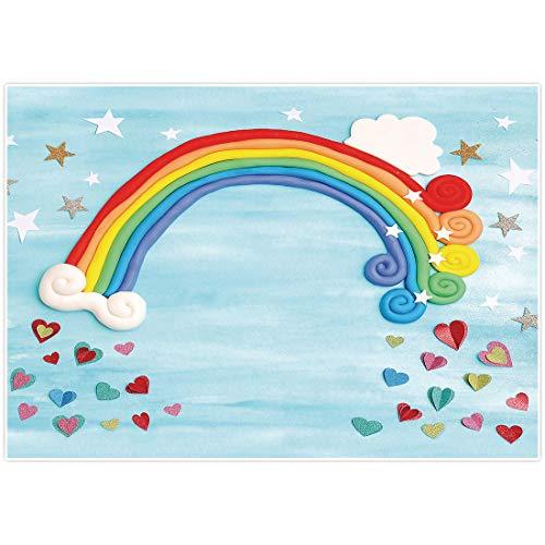 AllEnjoy - Fondo para fotografía de arcoíris de 7 x 5 pies, color azul claro para fiesta de cumpleaños, fiesta de baby shower de fondo para niños, estudio de fotos, decoración de fotos