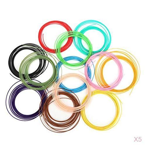 P Prettyia 60pcs 12 Colors 3D Printer Filament PLA 5m Length For Most 3D Printers