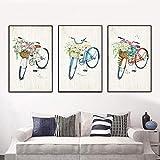 WADPJ Poster druckt Fahrrad mit Blumen Dekor Kunst Leinwand Malerei Wandbilder Wohnzimmer-50x70cmx3 Stück kein Rahmen
