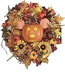 Corona autunnale per Halloween, zucca di girasole, foglie d'acero, benvenuto, ghirlanda di foglie d'acero artificiale, decorazione per la casa
