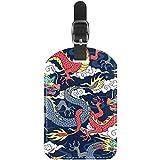 Etiquetas de equipaje tradicionales de piel de dragón chino para maleta de viaje, 1 paquete