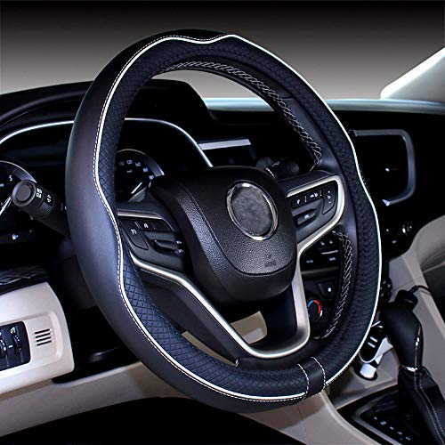 DuoDuoBling Genuine Black Leather Steering Wheel Cover 15 Inch for Men 2019 New Automotive Cute Jeep Car Interior Accessories (White)
