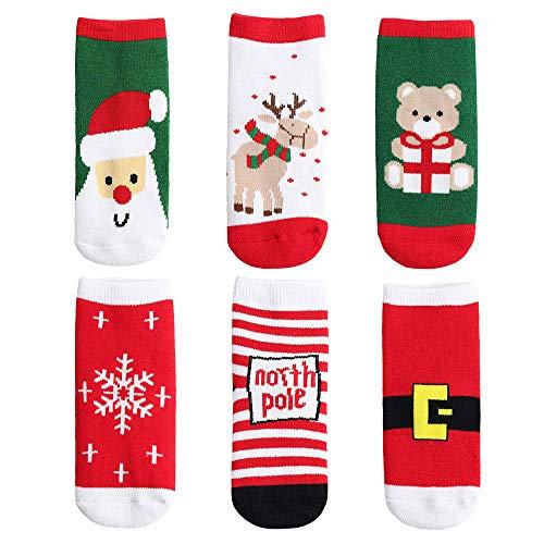 Yafane Calcetines de Navidad calcetín Lindo de algodón Animal de Dibujos Animados Reno de Santa Claus Unisex 6 Pares Calcetines de Invierno Regalos para Bebé Niño Niña 1-10 años (Rojo, 7-10 años)