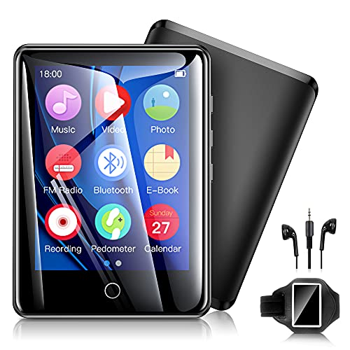 32GB Mp3 Players with Armband, Portable Music Player with Bluetooth 5.0, Full Touch Screen Mp4 Player with FM Radio/Recorder/Pedometer/E-Book/Video Players/Timer Support up to 128GB
