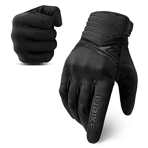 INBIKE Breathable Mesh Motorcycle Gloves Touchscreen With TPR Palm Pad Hard Knuckle Black Large