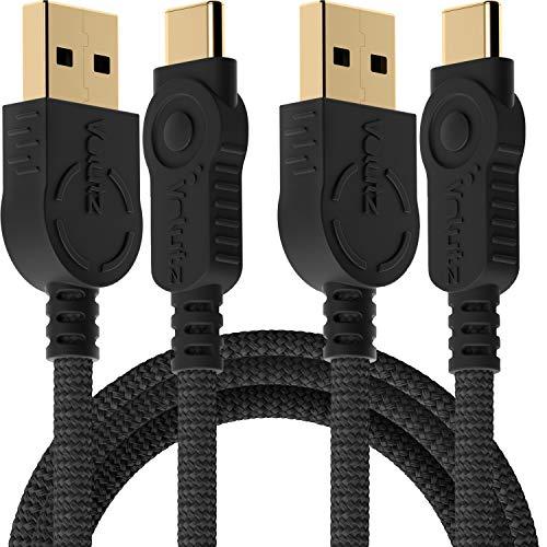 Volutz Cable USB C a USB A, cable de carga estable para smartphone con 2 cables trenzados de nailon de 3 metros, carga rápida con Samsung Galaxy S20, S10, S9, A20e, A51, Huawai P30 y UVM.