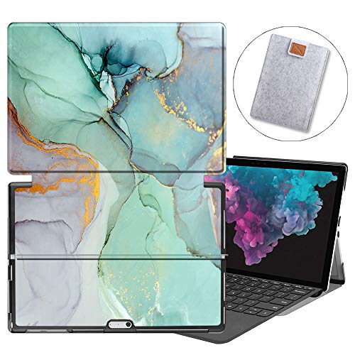 MAITTAO Microsoft Surface Pro 7 / Pro 6 / Pro 5 2017 / Pro 4 Case Accessories, Slim Light Folio Stand Case Built-in Surface Pen Holder - 2 in 1 Tablet Cover & Tablet Sleeve Bag, Creative Marble 5